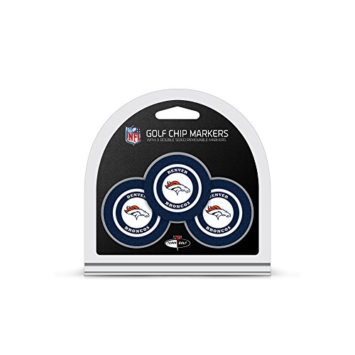 Team Golf NFL Denver Broncos Golf Chip Ball Markers (3 Count), Poker Chip Size with Pop Out Smaller Double-Sided Enamel Markers
