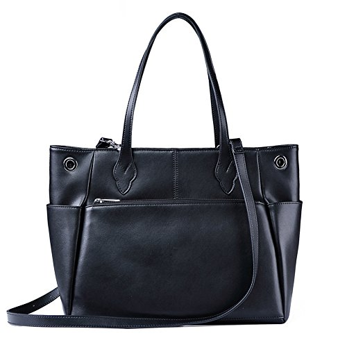 Tote Bag AUGSOPA Women`s Fashion Business Jet Set Travel Durable Functional PU Synthetic Leather Large Roomy Carryall with Zipper Closure Trolley Luggage Sleeve 13.3'' Laptop Compartment (Black) by AUGSOPA
