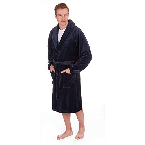 PIERRE ROCHE Mens Flannel Fleece Dressing Robe (Big And Tall Mens Robes)