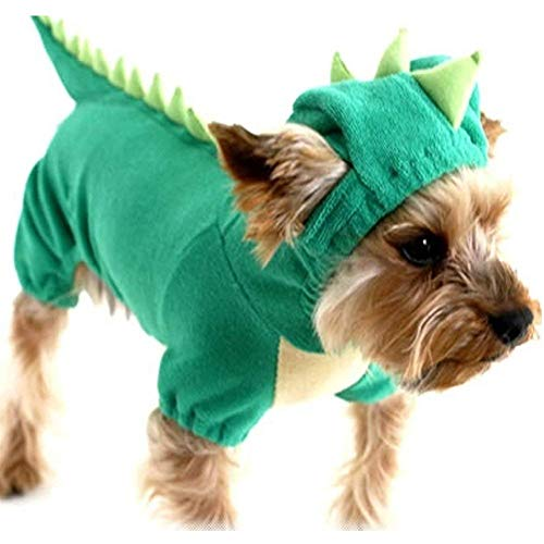 Hotumn Dinosaur Dog Halloween Costume Pet Dino Hoodie Small & Medium Dogs,Green (XS)