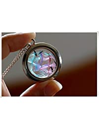 Unique Rainbow dandelion locket necklace glass seeds wish charm
