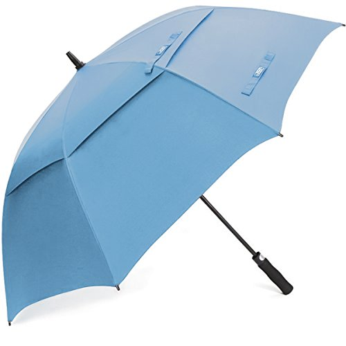 G4Free 62 Inch Automatic Open Golf Umbrella Extra Large Oversize Double Canopy Vented Windproof Waterproof Stick Umbrellas(Sky Blue)