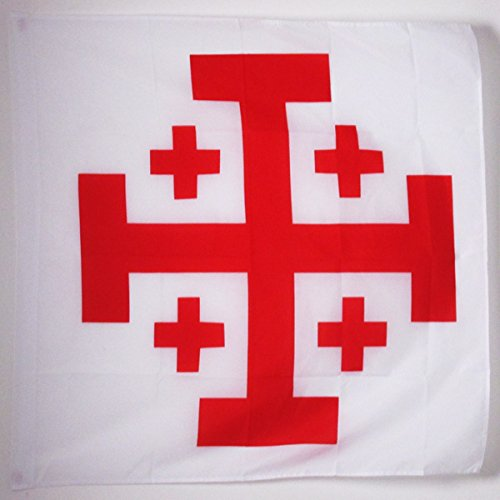 Jerusalem Flag - AZ FLAG Order Of The Holy Sepulchre Of Jerusalem Cross Flag For A Pole - Catholic Flags 90 X 90 Cm - Banner 3X3 Ft With Hole