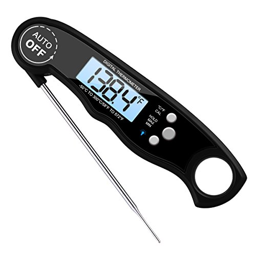 (Upgraded) Instant Read Meat Thermometer, Best WATERPROOF Cooking Thermometer, WITH BACKLIGHT CALIBRATION, Ultra fast Probe, for Kitchen, BBQ, Grill Food, Auto On-Off, Battery Included (Black)