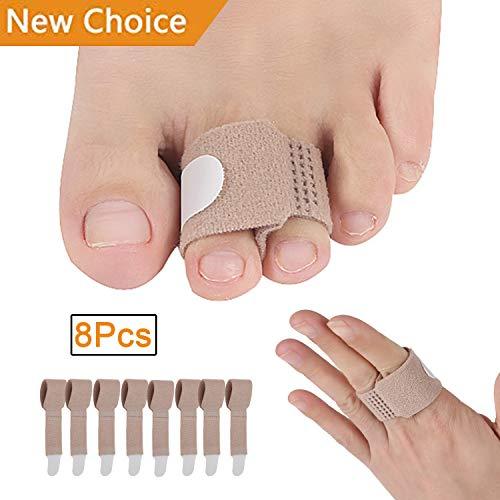 Toe Splint Wraps Pack of 8 Non Slip Hammer Toe Straightener for Broken Toe, Crooked, Overlapped, and Hammer Toes-Women and Men ()