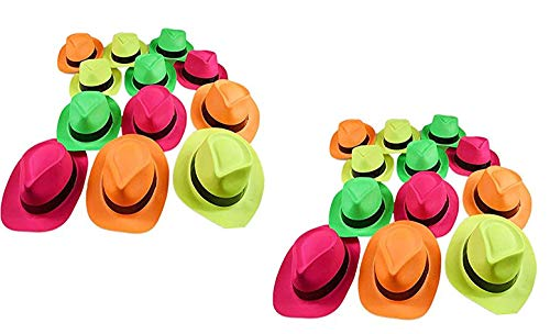 Ifavor123 Bright Neon Color Plastic Gangster Hats - Themed Party Fedora Hat Accessory (24)
