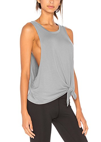 - Bestisun Workout Clothes Racerback Athletic Tank Top Activewear Sport Shirts Fashion Yoga Tie Knot T-Shirts Low Cut Top Gray XS