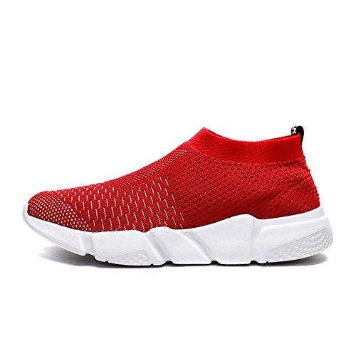 YALOX Männer leichte atmungsaktive Laufschuhe athletische Turnschuhe Mode lässig zu Fuß Slip auf Schuhe rot