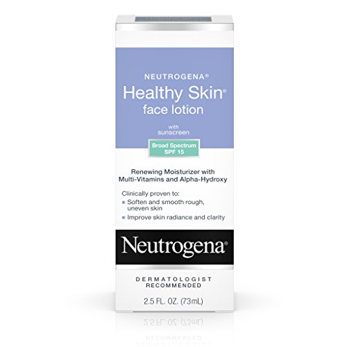 Neutrogena Healthy Skin Face Moisturizer Lotion with SPF 15 Sunscreen & Alpha-Hydroxy Acid, Anti-Wrinkle Treatment with Vitamins C, E & B5, Oil-Free & Alcohol-Free, 2.5 fl. oz