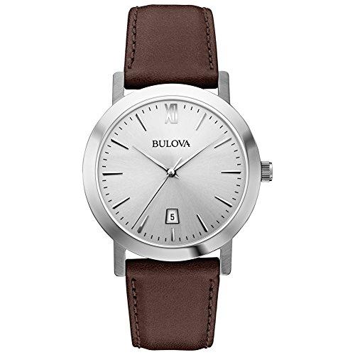 Bulova Strap Brown (Bulova 96B217 Mens Dress Brown Leather Strap Watch)