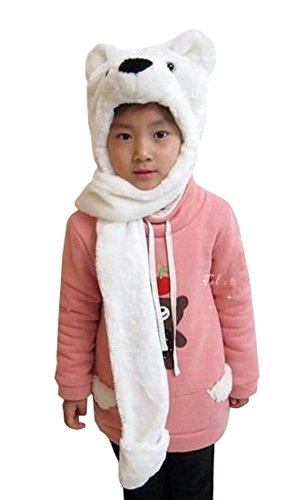 Tonwhar Cartoon Animal Hood Hoodie Hat with Attached Scarf and Mittens (Polar Bear) (Bear Hat With Mittens)
