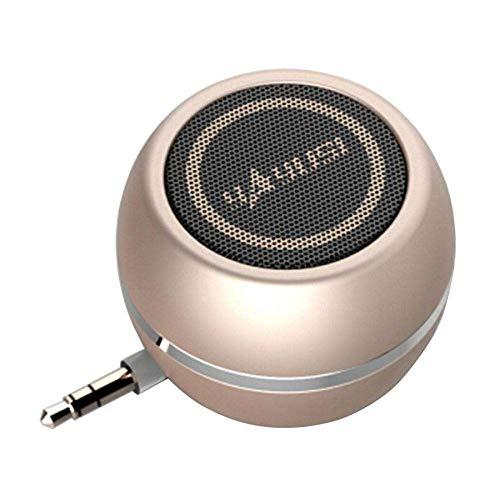 Sammid Mini Speaker, Portable Simple Using 3.5mm Plug in AUX Speaker Amplifier Super Sound System 3D Stereo Micro USB Port Audio Dock Speaker for Mobile Phone Tablet PC MP3 MP4 - Gold Psp Case Go
