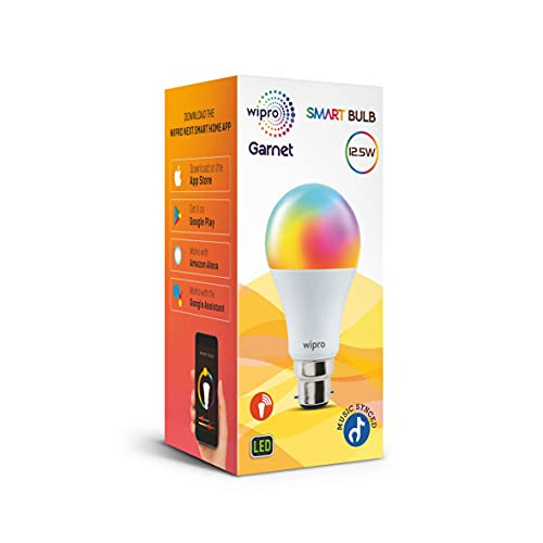 Wipro 12.5-Watt B22 Wi-Fi Smart LED Bulb with Music Sync (16 Million Colors + Warm White/Neutral White/White) (Compatible with Amazon Alexa and... 3