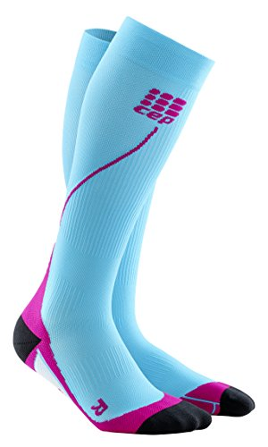 CEP Women's Progressive+ Compression Run Socks 2.0, 20-30mmHg Compression, Hawaii Blue/Pink, Size 3