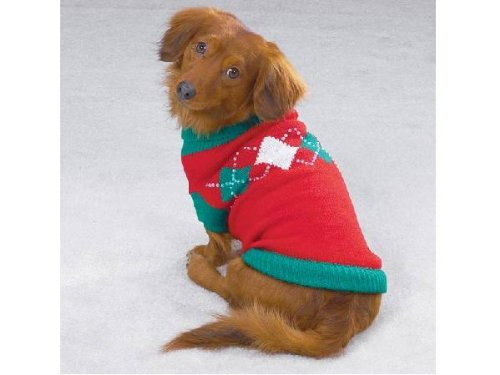 East Side Collection Sequin Studded Red White & Green Argyle Dog Sweater ()