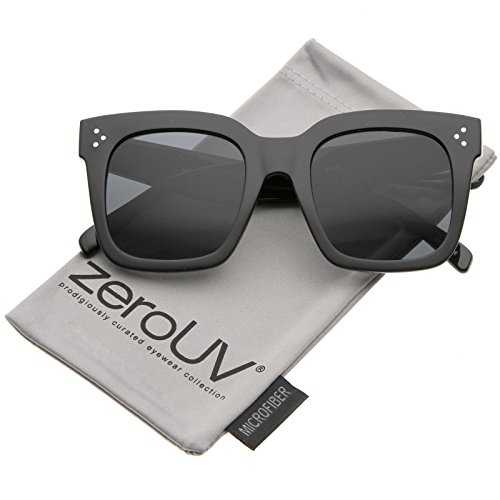 zeroUV - Modern Two-Toned Bold Frame Square Horn Rimmed Sunglasses 50mm (Black / - Women's Square Sunglasses