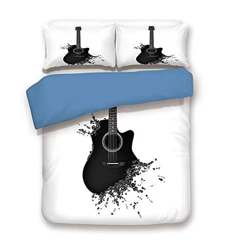 Instrument Cora Musical - Duvet Cover Set,Blue Back,Guitar,Monochrome Musical Instrument with Strings Acoustic Color Splashes Creative Outlet,Black White,Decorative 3 Pcs Bedding Set by 2 Pillow Shams,Full Size