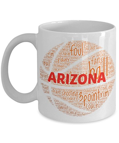 ARIZONA WILDCATS Basketball mug - coffee tea cup for college sports fan - ceramic team gift -- NCAA college basketball -- 11 ounce or 15 ounce white
