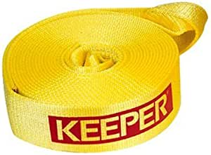 """KEEPER 02923 Vehicle Recovery Strap with Loops 2"""" x 30' 10,000 lbs Vehicle Wt."""
