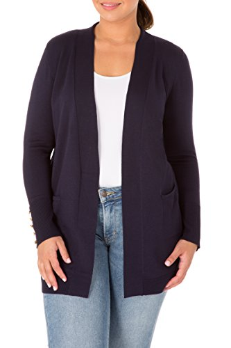 89th&Madison Cozy Open Front Flattering Plus Size Cardigan with Long Sleeves and Ribbed Details, Baltic Sea, (Detail Knit Cardigan)
