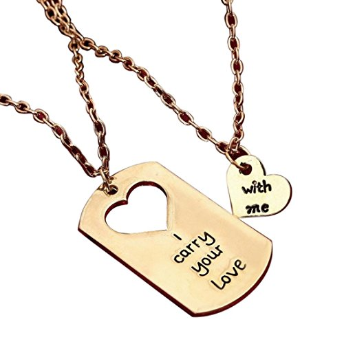 Vanvler I Carry You Love With Me Couple Key Chain Necklace pendant Lover Gift Valentine's Day (Good Costumes For Couples)