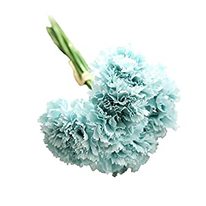 GlobalDeal 6 Branches/Bouquet Mother's Day Gift Artificial Carnations Flowers Home Decor - Light Blue 91