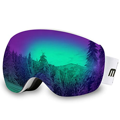 AKASO OTG Ski Goggles, Snowboard Goggles, Mag-Pro Magnetic Interchangeable Lenses, Anti-Fog, 100% UV Protection, Helmet Compatible, Snow Goggles for Men & Women, Free Balaclava Ski Mask Included (Ski Helmet Chrome)