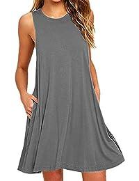 YMING Women's Sleeveless Swing Shirt Tunic Tops Summer Casual T-Shirt Dress