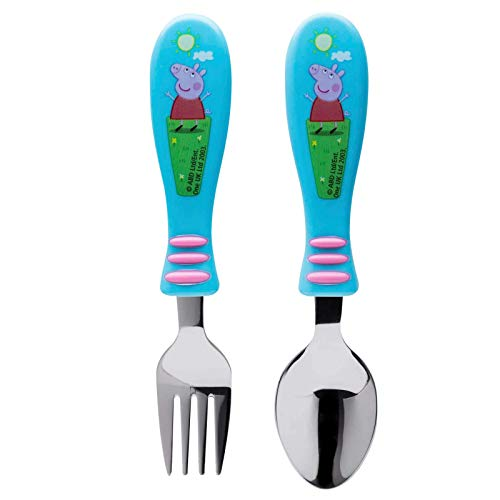 Zak Designs Peppa Pig Easy Grip Flatware Fork And Spoon Utensil Set – Perfect for Toddler Hands With Fun Characters, Contoured Handles And Textured Grips, Peppa Pig