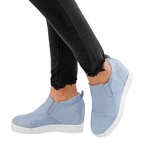 LAICIGO Women's Hidden Wedge Sneakers Platform Slip on Faux Leather Elastic Band Casual Ankle Booties