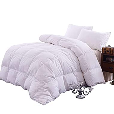 Topsleepy Luxurious Bedding Goose Down Filling Comforter, White (King Size)