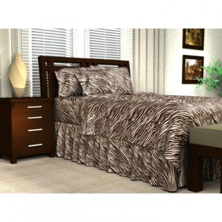 Luxury Cal King Size Satin Flat Sheet - (Brown Cream Zebra)