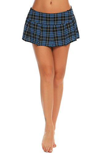 Avidlove Women Role Play Mini Plaid Skirt Polyester Red Sexy Schoolgirl Lingerie (XL = US L, Blue) -