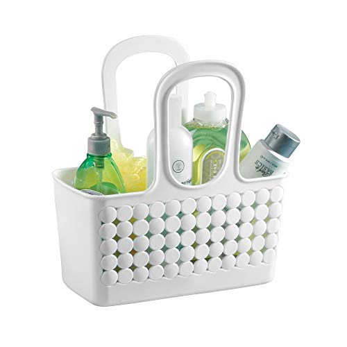 "InterDesign Orbz Plastic Bathroom Shower Tote, Small College Dorm Caddy for Shampoo, Conditioner, Soap, Cosmetics, Beauty Products, 11.25"" x 5.25"" x 12"", White from InterDesign"