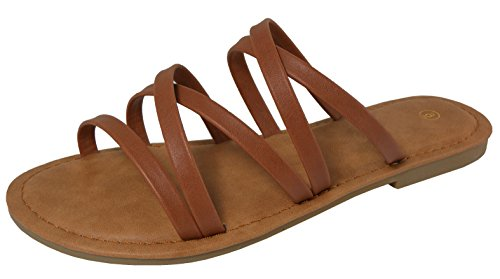 Cambridge Select Womens Crisscross Strappy Slip-on Flat Slide Sandal Tan fin58