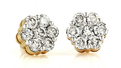 (0.75ctw Cluster Natural Diamond Round Cut Flower Studs Earrings 14K yellow Gold (3/4 ctw))