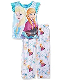 Disney Girls Frozen Elsa Anna 2-Piece Fleece Pajama Set