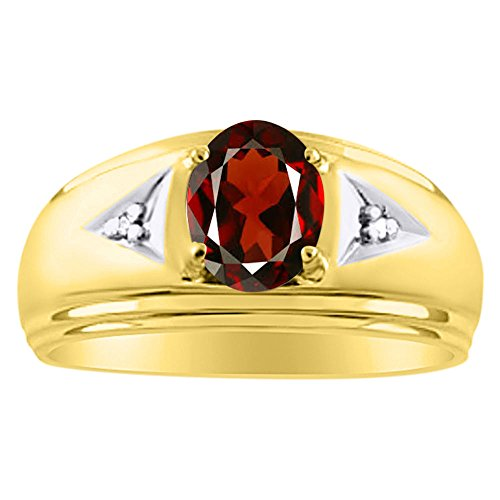 Mens Classic Oval Garnet & Diamond Ring Set in Yellow Gold Plated Silver .925 January - Tiffany Usa Online Shop