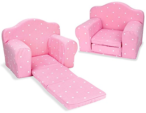 Sophia's Pink Doll Furniture Pull Out Chair Bed Plush Chair for Dolls Converts to Single Bed (18 Inch Doll Furniture Couch)