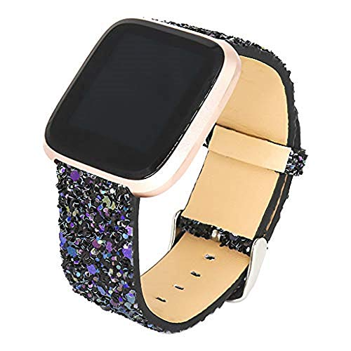 - CapsA Watch Band Bling Sequined Leather Wrist Strap Compatible for Fitbit Versa Lite