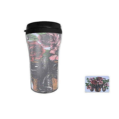 Hippie Dachshund in The Roses Wreath Travel Mug for Coffee & Tea,Drinking Cup, Coffee Mug,Thermos Cup 8oz