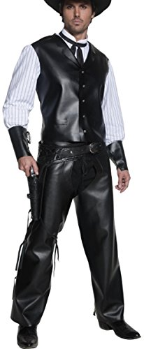 Smiffy's Men's Authentic Western Gunslinger Costume, Vest with Faux Shirt, Chaps and Dicky Bow, Western, Serious Fun, Size M, 36159 - Gunslinger Costumes
