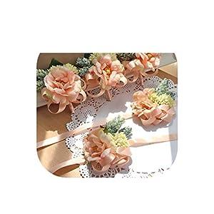 Handmade Wedding Corsages Groom Boutonniere Bride Bridesmaid Hand Wrist Flower Artificial Flowers Prom Corsage 50