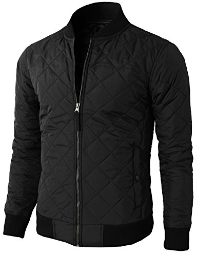 - H2H Men Casual Quilted Padded Lightweight Zip up Winter Jacket Black US S/Asia M (KMOJA0301)