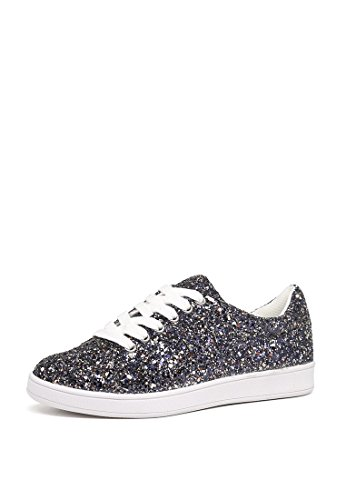 London Rag Women's Glitter Lace up Sneakers Pd1om