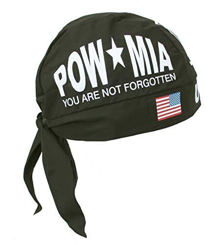 Hiphopville Flag POW MIA Military Black Skull Cap Hat Bandana with Tie