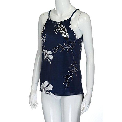 floral de tirantes Suelto Camisas Actividades suave hombro ❤️ mujeres ❤️ Mujer fresco F con verano las de Blusa traje sin verano desnudo casual Sonnena citas sexy para manga impresión y qxXTP