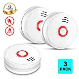 Photoelectric Smoke Detector and Smoke Alarm Battery Operated, UL Listed Sensor Fire Alarms with Test Button for Home Depot Hotel School, 10 Year Smoke Detector 3 Pack