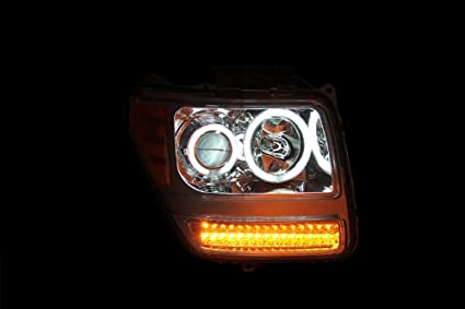 Sold in Pairs Anzo USA 111144 Dodge Nitro G2 Projector Halo Chrome Clear AmberHeadlight Assembly