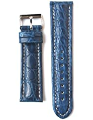 20mm Blue Matte Genuine Crocodile Breitling Style Watchband Made in Italy